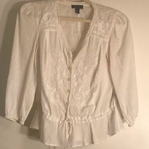 Ralph Lauren white cotton embroidered top